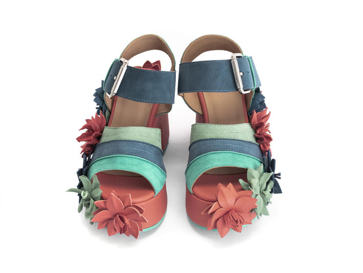 Eve Blue/Green Platform sandal with flowers