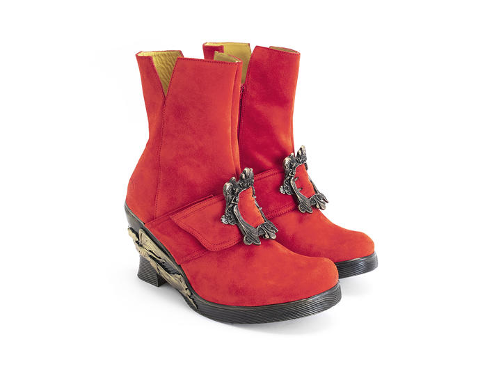 Anna Red Ankle boot with Angel wedge