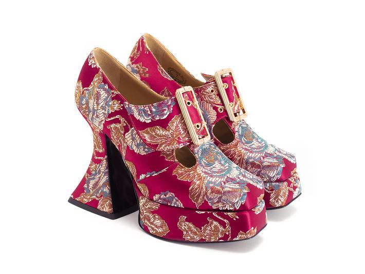 Original Red Floral Jacquard Baroque platform heel