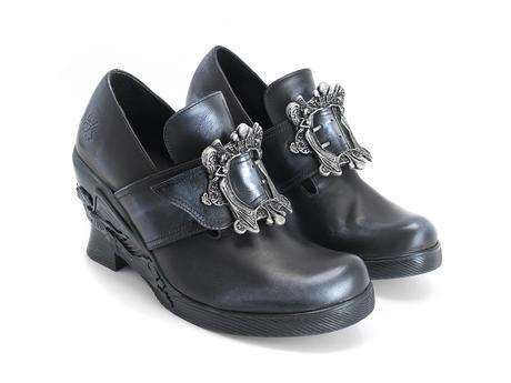 Engle Blue metallic Angel wedge heel with buckle
