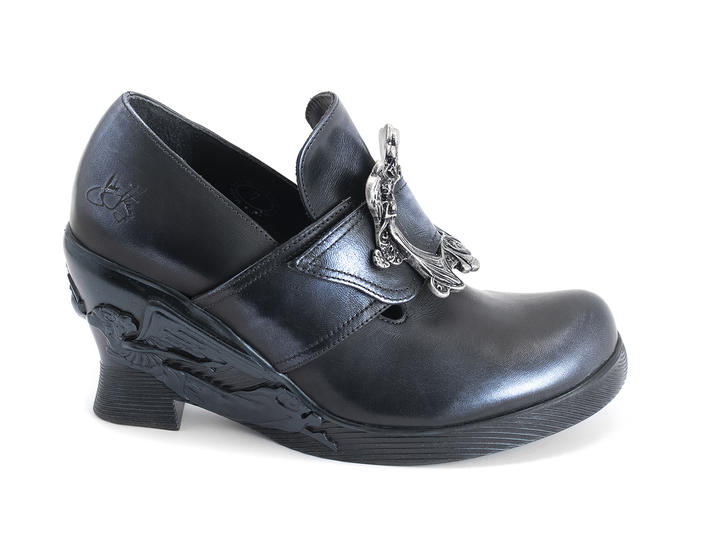 Engle Blue metallic Angel wedge heel with buckle