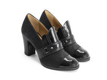 Carlyne Black Scalloped tongue loafer heel