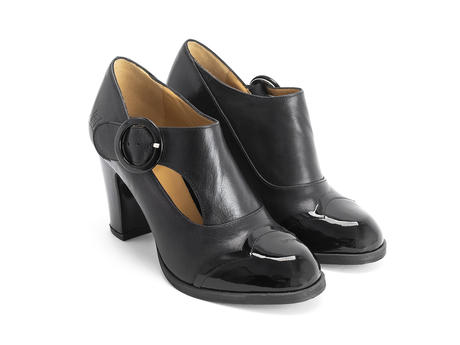 Joyce Black Buckled heel with scalloped toe