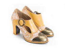 Joyce Gold Buckled heel with scalloped toe