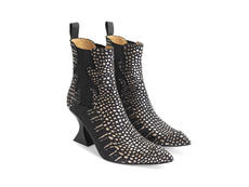 Aspasia Gold Croc Flamed chelsea boot
