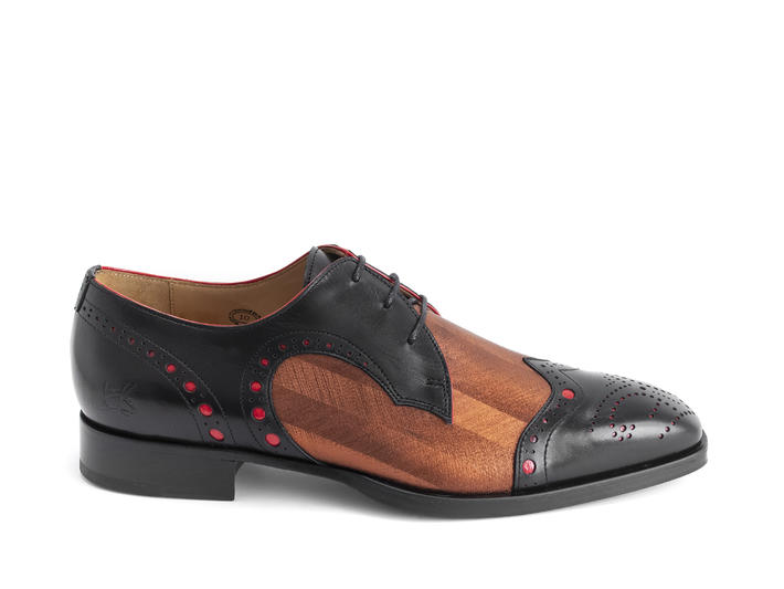 Duke Black/Copper Brogued wingtip derby