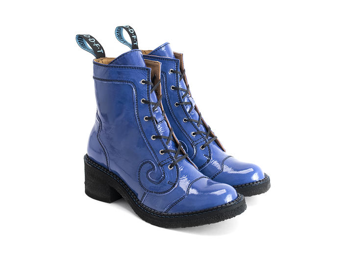 Tardy Blue patent Crepe soled derby boot