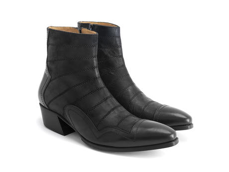 Presley: Men's Black Ankle boot with stitching