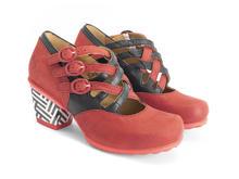 Luxon Red/Black Multi-strap mary jane