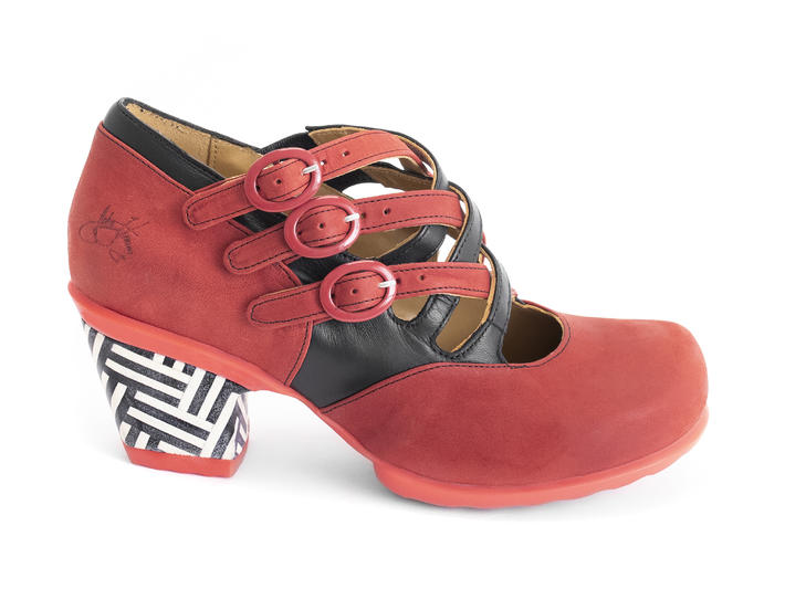 Luxon Red/Black Multi-strap mary jane