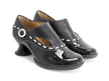 Achiever Black Buckled shoe with stitching