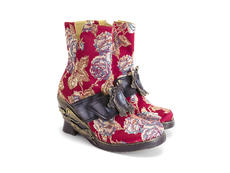 Anna Red Floral Jacquard Ankle boot with Angel wedge