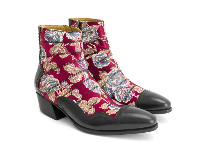 Presley: Women's Red Floral Jacquard Ankle boot with stitching