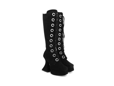 Sampladelic Black Lace-up platform boots
