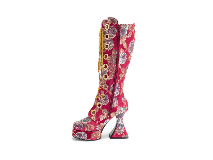 Sampladelic Red Floral Jacquard Lace-up platform boots