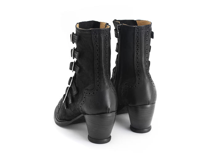 Woodland Black Strappy ankle boot