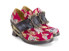 Engle Red Floral Jacquard Angel wedge heel with buckle