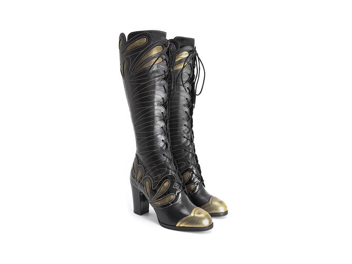 Elita - Black/Gold | Tall lace-up boot