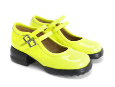 Aimee Neon Yellow Solid mary jane