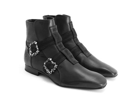Sutton: Men's Black Skull buckle boot