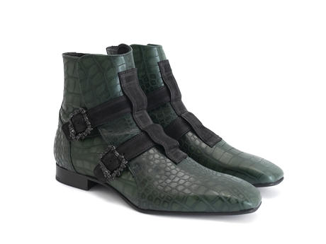 Sutton: Men's Green Skull buckle boot