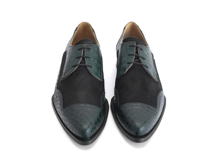 Master Green Ornate derby shoe