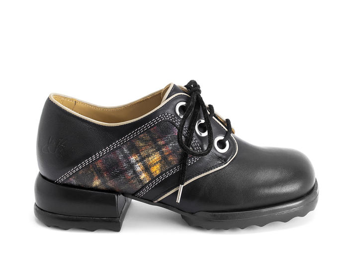 Catrin Black/Plaid Plaid derby shoe