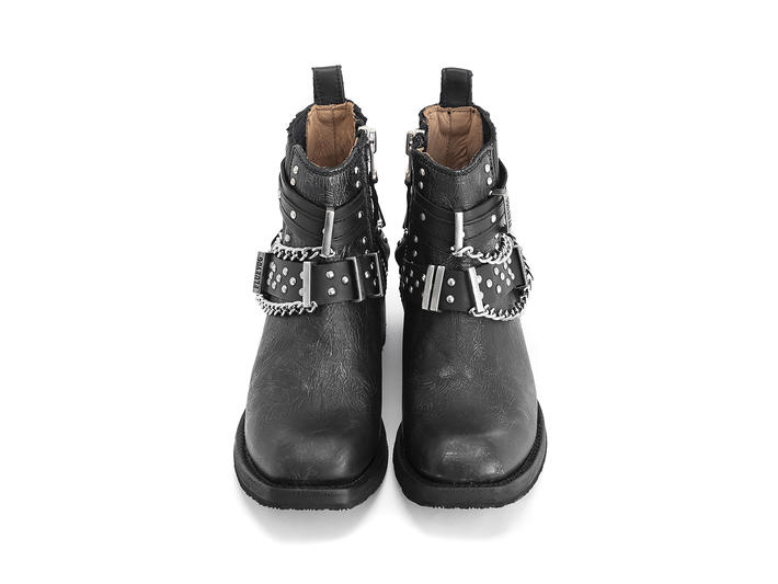 Wolverhampton Pewter Ankle boot with hardware