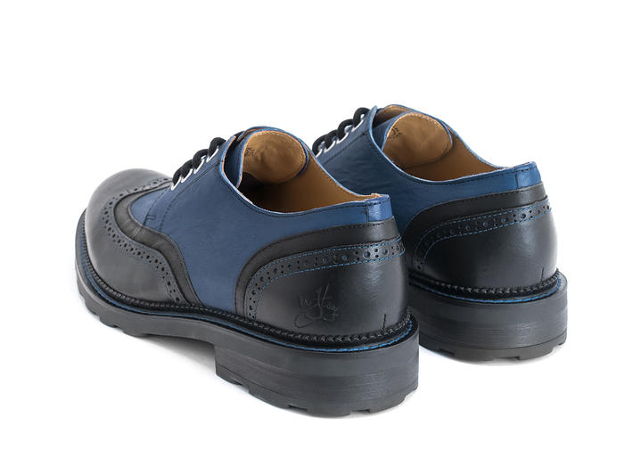 Nathaniel Black/Blue Double wing-tip derby
