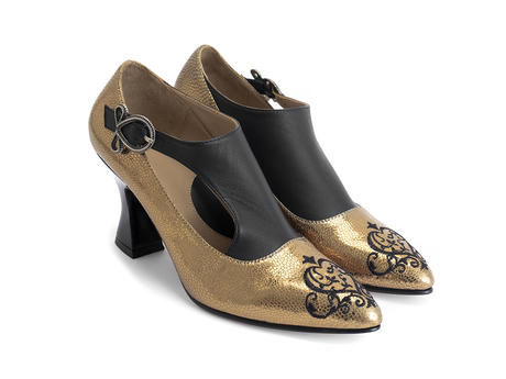 Darla Gold Buckled leather heel