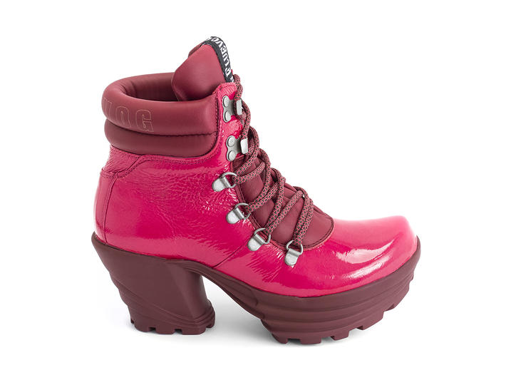 Soft Rock Pink/Burgundy Lace-up platform boot
