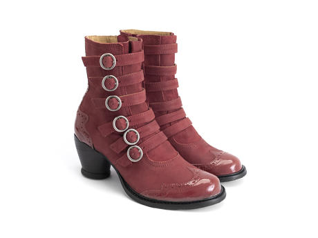 Woodland Maroon/Red Strappy ankle boot