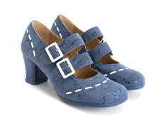 Cavalieri Blue/Birds Double strap mary jane