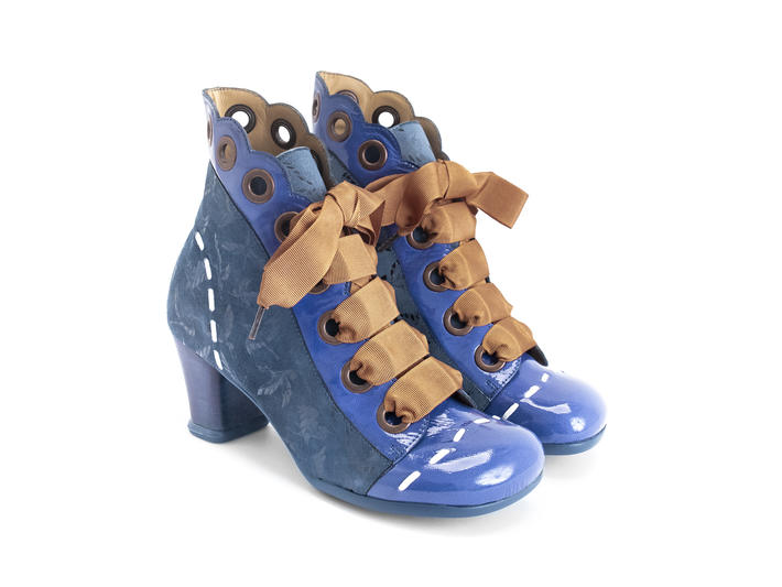 Licia Blue/Birds Scalloped ankle boot