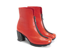 Niki Orange Ankle boot with front zip