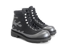 Pyro Silver/Black Boot with flames