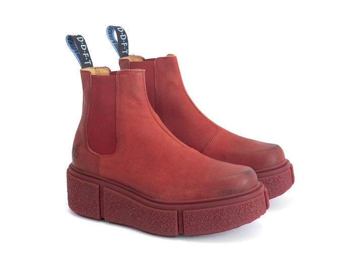 Piccolomini Red Platform chelsea boot