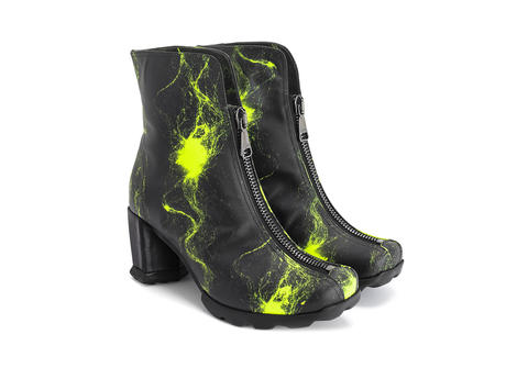 Niki Neon Yellow Ankle boot with front zip