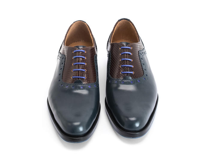 837 Granville Blue/Brown Brogued Leather Oxford
