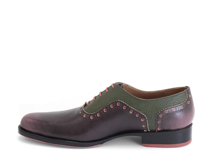 837 Granville Purple/Green Brogued Leather Oxford