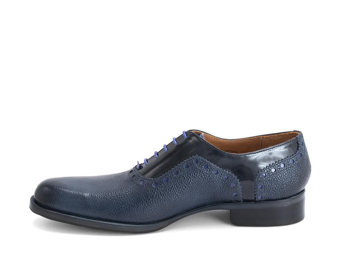 837 Granville Blue Pebble Brogued Leather Oxford