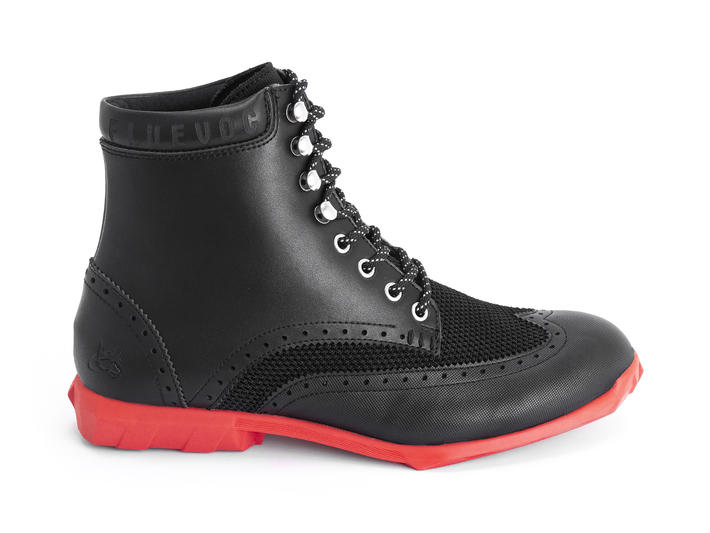 Halos Black/Red Vegan lace-up boot