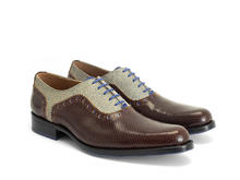 837 Granville Brown/Denim Brogued Leather Oxford