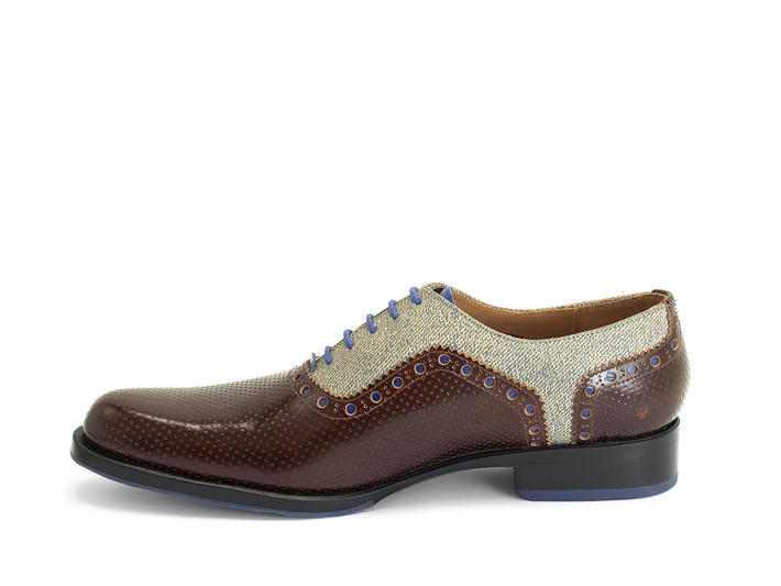 837 Granville Brun/Denim Richelieu brogue en cuir