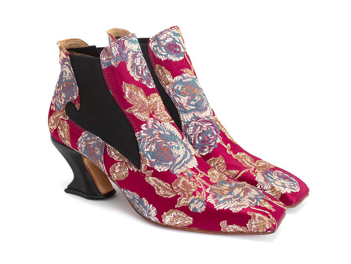 Baroness Red Floral Jacquard Square toe chelsea boot