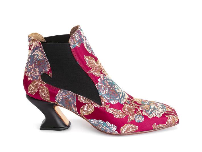 Baroness Jacquard rouge floral Bottine cambrée à bout carré