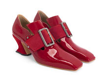 Bishop Red Patent Square toe buckled loafer