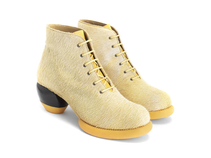 Hornik Light Yellow Lace-up ankle boot