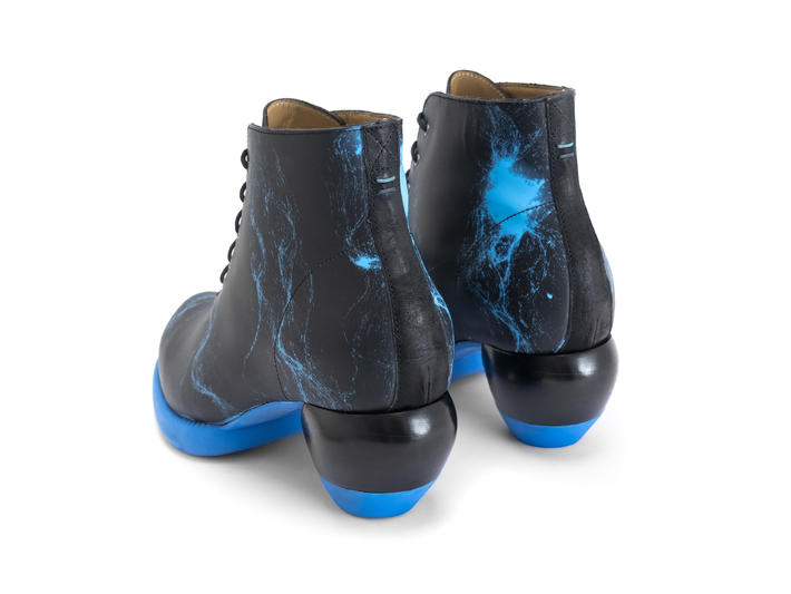 Hornik Neon Blue Lace-up ankle boot