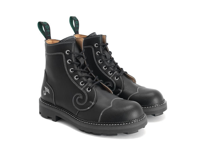Derby Swirl (6 Eye) Black Vegan Classic Derby Boot